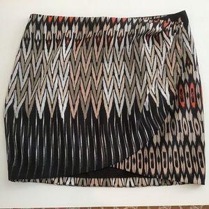 Bebe Wrap-Around Ikat Print Skirt